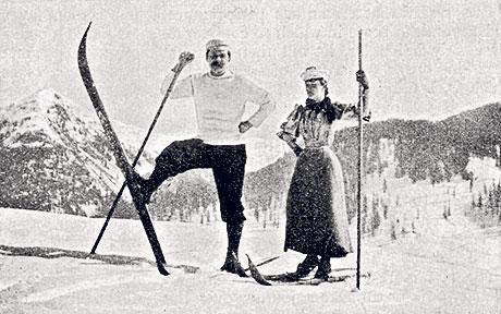 Артур Конан-Дойль с супругой на лыжах в Давосе