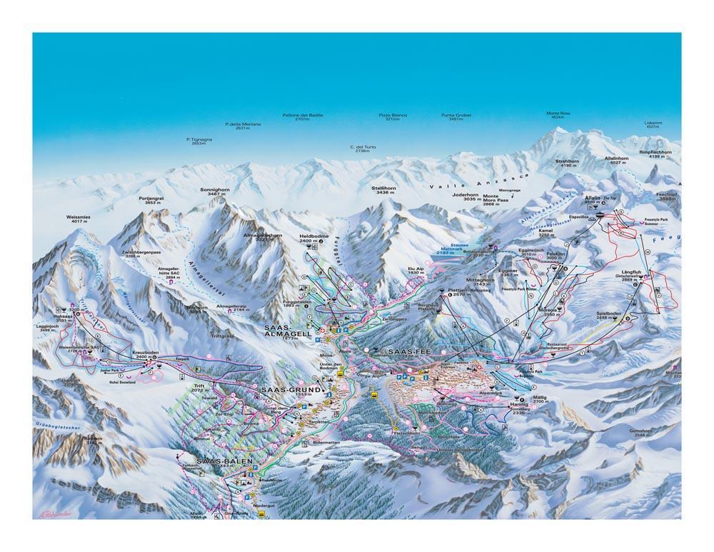 Карта трасс долины Саасталь