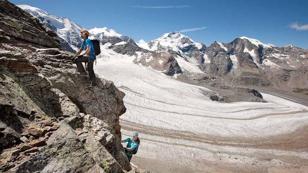ENGADIN ST. MORITZ: einfache Route auf dem Klettersteig Piz Trovat, Diavolezza